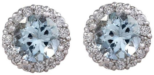 Exquisite 3.05 Carats Natural Aquamarine and Diamond 14K Solid White Gold Stud Earrings