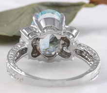 Load image into Gallery viewer, 4.65 Carats Natural Aquamarine and Diamond 14K Solid White Gold Ring