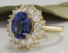 Load image into Gallery viewer, 3.80 Carats Natural Very Nice Looking Tanzanite and Diamond 14K Solid Yellow Gold Ring