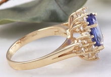 Load image into Gallery viewer, 5.50 Carats Natural Very Nice Looking Tanzanite and Diamond 14K Solid Yellow Gold Ring