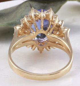 5.50 Carats Natural Very Nice Looking Tanzanite and Diamond 14K Solid Yellow Gold Ring