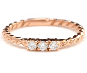 Splendid .15 Carats Natural Diamond 14K Solid Rose Gold Ring