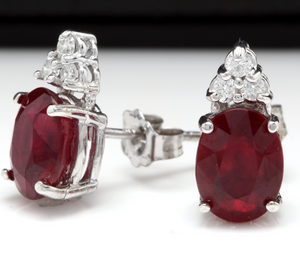Exquisite 4.20 Carats Red Ruby and Natural Diamond 14K Solid White Gold Stud Earrings