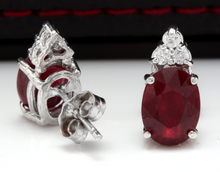 Load image into Gallery viewer, Exquisite 4.20 Carats Red Ruby and Natural Diamond 14K Solid White Gold Stud Earrings