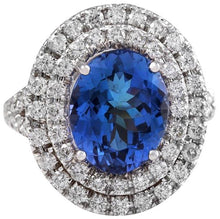Load image into Gallery viewer, 6.20 Carats Natural Very Nice Looking Tanzanite and Diamond 14K Solid White Gold Ring