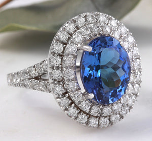 6.20 Carats Natural Very Nice Looking Tanzanite and Diamond 14K Solid White Gold Ring