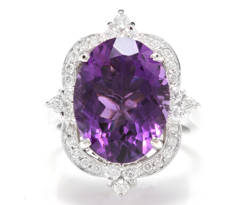9.75 Carats Natural Impressive Amethyst and Diamond 14K Solid White Gold Ring