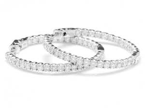 Exquisite 2.85 Carats Natural Diamond 14K Solid White Gold Hoop Earrings