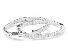 Load image into Gallery viewer, Exquisite 2.85 Carats Natural Diamond 14K Solid White Gold Hoop Earrings