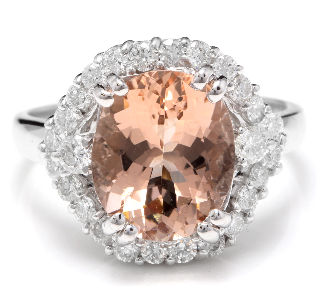 5.75 Carats Exquisite Natural Morganite and Diamond 14K Solid White Gold Ring