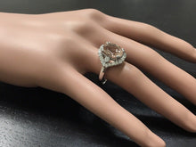 Load image into Gallery viewer, 5.75 Carats Exquisite Natural Morganite and Diamond 14K Solid White Gold Ring