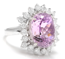 Load image into Gallery viewer, 8.40 Carats Natural Kunzite and Diamond 14K Solid White Gold Ring
