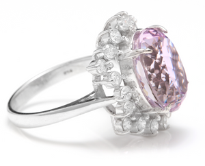 8.40 Carats Natural Kunzite and Diamond 14K Solid White Gold Ring