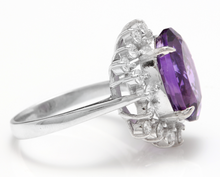 Load image into Gallery viewer, 7.90 Carats Natural Amethyst and Diamond 14K Solid White Gold Ring