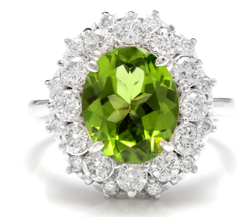 4.85 Carats Natural Very Nice Looking Peridot and Diamond 14K Solid White Gold Ring