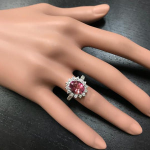 3.90 Carats Natural Very Nice Looking Tourmaline and Diamond 14K Solid White Gold Ring