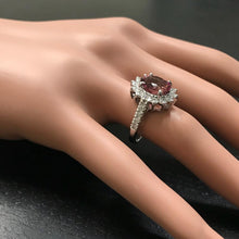 Load image into Gallery viewer, 3.90 Carats Natural Very Nice Looking Tourmaline and Diamond 14K Solid White Gold Ring