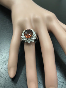 10.50 Carats Natural Very Nice Looking Orange Zircon and Diamond 14K Solid White Gold Ring