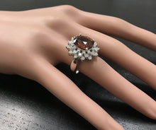 Load image into Gallery viewer, 10.50 Carats Natural Very Nice Looking Orange Zircon and Diamond 14K Solid White Gold Ring