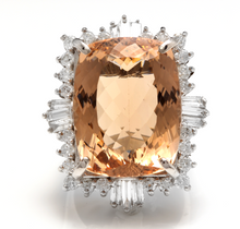 Load image into Gallery viewer, 25.00 Carats Impressive Natural Morganite and Diamond 14K Solid White Gold Ring