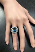 Load image into Gallery viewer, 13.50 Carats Natural Very Nice Looking Zircon and Diamond 14K Solid White Gold Ring