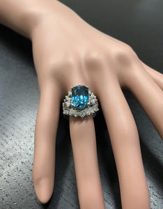 13.50 Carats Natural Very Nice Looking Zircon and Diamond 14K Solid White Gold Ring