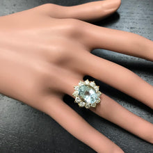 Load image into Gallery viewer, 7.68 Carats Exquisite Natural Aquamarine and Diamond 14K Solid Yellow Gold Ring