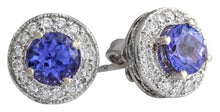 Load image into Gallery viewer, Exquisite 1.80 Carats Natural Tanzanite and Diamond 14K Solid White Gold Stud Earrings