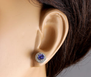 Exquisite 1.80 Carats Natural Tanzanite and Diamond 14K Solid White Gold Stud Earrings