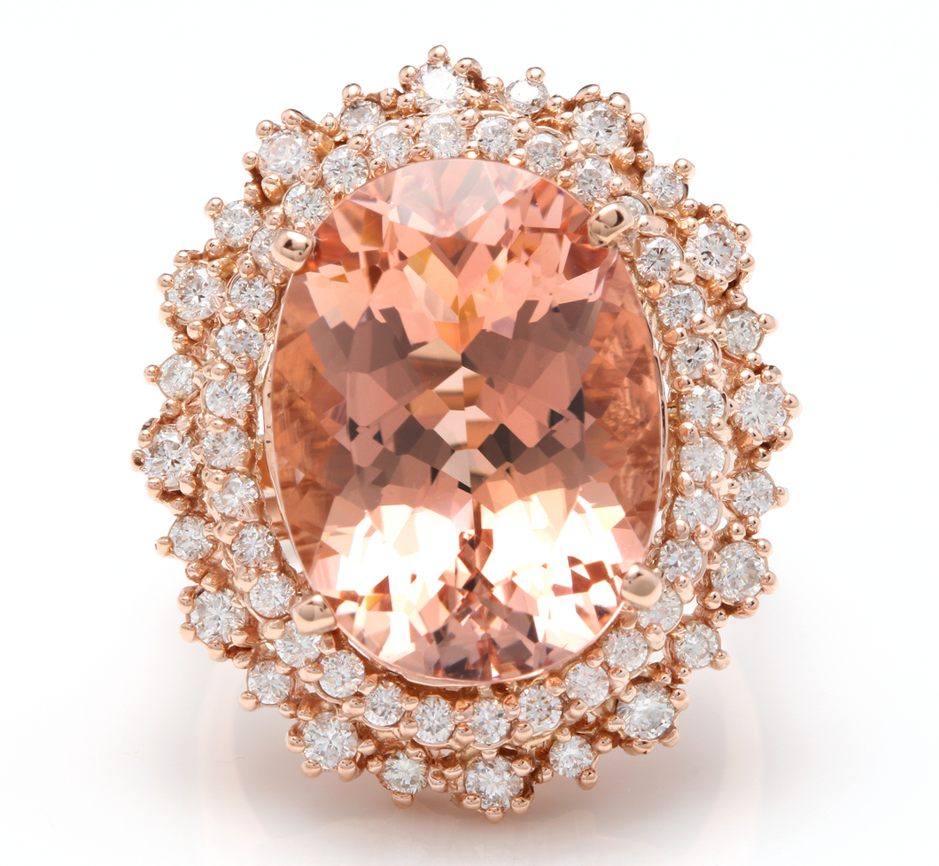 13.65 Carats Exquisite Natural Morganite and Diamond 14K Solid Rose Gold Ring