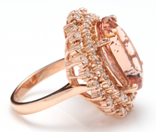 Load image into Gallery viewer, 13.65 Carats Exquisite Natural Morganite and Diamond 14K Solid Rose Gold Ring