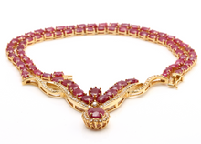 Load image into Gallery viewer, 54.14Ct Natural Red Ruby and Diamond 14K Solid Yellow Gold Necklace