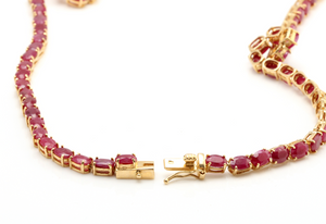 54.14Ct Natural Red Ruby and Diamond 14K Solid Yellow Gold Necklace