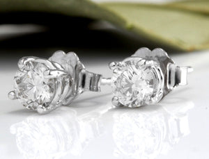 Exquisite .60 Carats Natural VS2-SI1 Diamond 14K Solid White Gold Stud Earrings