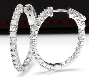 Exquisite 2.25 Carats Natural Diamond 14K Solid White Gold Hoop Earrings