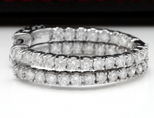 Load image into Gallery viewer, Exquisite 2.25 Carats Natural Diamond 14K Solid White Gold Hoop Earrings