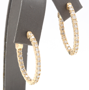 Exquisite 2.25 Carats Natural Diamond 14K Solid Yellow Gold Hoop Earrings