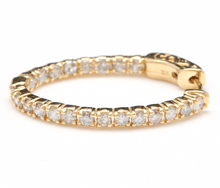 Load image into Gallery viewer, Exquisite 2.25 Carats Natural Diamond 14K Solid Yellow Gold Hoop Earrings