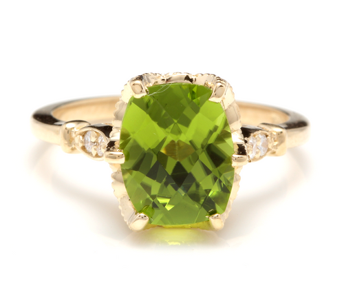 3.00 Carats Impressive Natural Peridot and Diamond 14K Yellow Gold Ring