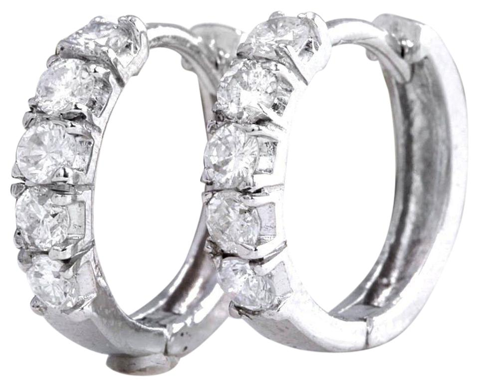Exquisite .60 Carats Natural Diamond 14K Solid White Gold Hoop Earrings
