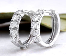 Load image into Gallery viewer, Exquisite .60 Carats Natural Diamond 14K Solid White Gold Hoop Earrings