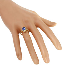Load image into Gallery viewer, 1.50 Carats Natural Very Nice Looking Tanzanite and Diamond 14K Solid Yellow Gold Ring
