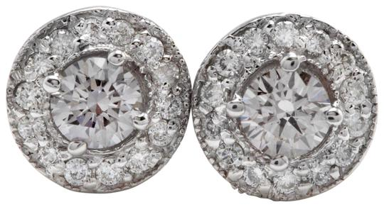 Exquisite .94 Carats Natural Diamond 14K Solid White Gold Stud Earrings