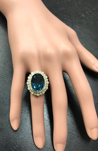 13.40 Carats Natural Impressive LONDON BLUE TOPAZ and Diamond 14K Yellow Gold Ring