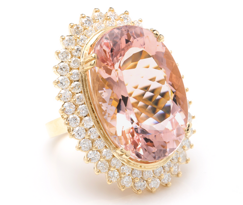 36.25 Carats Exquisite Natural Morganite and Diamond 14K Solid Yellow Gold Ring