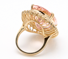 Load image into Gallery viewer, 36.25 Carats Exquisite Natural Morganite and Diamond 14K Solid Yellow Gold Ring