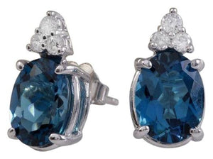 Exquisite 4.60 Carats London Blue Topaz and Diamond 14K Solid White Gold Stud Earrings