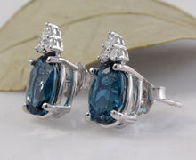 Load image into Gallery viewer, Exquisite 4.60 Carats London Blue Topaz and Diamond 14K Solid White Gold Stud Earrings