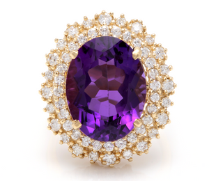 10.40 Carats Natural Impressive Amethyst and Diamond 14K Yellow Gold Ring