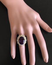 Load image into Gallery viewer, 10.40 Carats Natural Impressive Amethyst and Diamond 14K Yellow Gold Ring